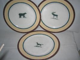 3 FITZ & FLOYD Sequoia Habitat Americana Dinner Plates 10 5/8' Lot HTF - $26.39
