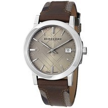 Burberry BU9020 Large Check Brown Leather Swiss Made Mens Watch - $329.01 CAD