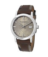 Burberry BU9020 Large Check Brown Leather Swiss Made Mens Watch - $325.12 CAD