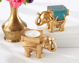 96 Gold Teal Indian Asian Lucky Elephant Bridal Wedding Tealight Candle ... - $268.95