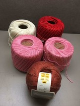 Lot of 4 Partial Spools COTTON Crochet YARN Pink Red White 1 Full Burnt ... - ₹704.84 INR