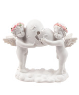 Love Heart Holding Cherubs, Cute Angels with Rose Wreath Hold Heart Puzzle - $16.35