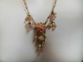 "Vintage Signed Colleen Toland Floral Beaded Necklace 21"" Long - $85.00"