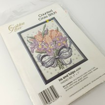 """Iris and Tulips Counted Cross Stitch Kit 5"""" x 7"""" USA Made By Golden Bee Vtg - $7.92"""