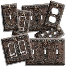 RUSTIC WESTERN COWBOY LONE STAR LUCKY HORSESHOE LIGHT SWITCH OUTLET WALL... - $10.99+