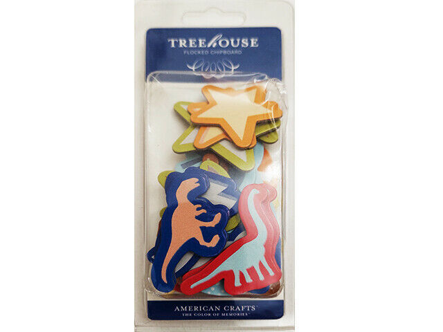 American Crafts Tree House Flocked Chipboard Jr. Shapes, 24 Ct, Dinos and More