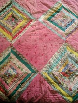 1940s Handmade Quilt Scrappy Strips Diamonds Tied Pink Old Fabrics 76 by 64 - $154.28