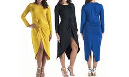 Women's Long Sleeves Bodycon Wrap Dress - $25.55