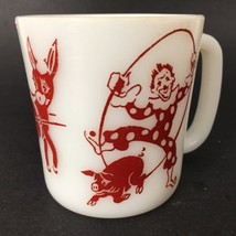 Vintage Hazel Atlas Circus Clown Mug Child's Red White Milk Glass Cup Pi... - $8.51