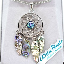 Storrs Wild Pearle Abalone Shell Dreamcatcher Pendant w Silver Tone Necklace image 2