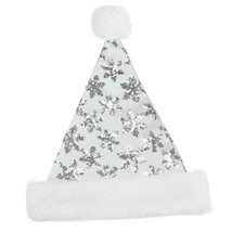 "Northlight 14"" White Silver Sequin Snowflake Christmas Santa Hat Faux Fu... - €7,67 EUR"