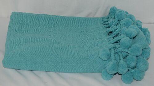 CBK Brand 147920 Inspired Home Aqua Blue Tasseled Pom Poms Throw Blanket