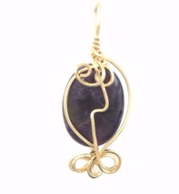 AMETHYST WIRE WRAPPED PENDANT 14 K GOLD FILLED  PURPLE - $14.85