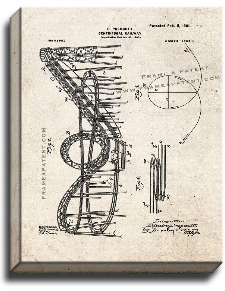 Primary image for Centrifugal Railway Patent Print Old Look on Canvas