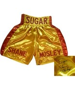 Sugar Shane Mosley signed Gold Satin Boxing Trunks w/ Red Trim (Leaf) - $68.95