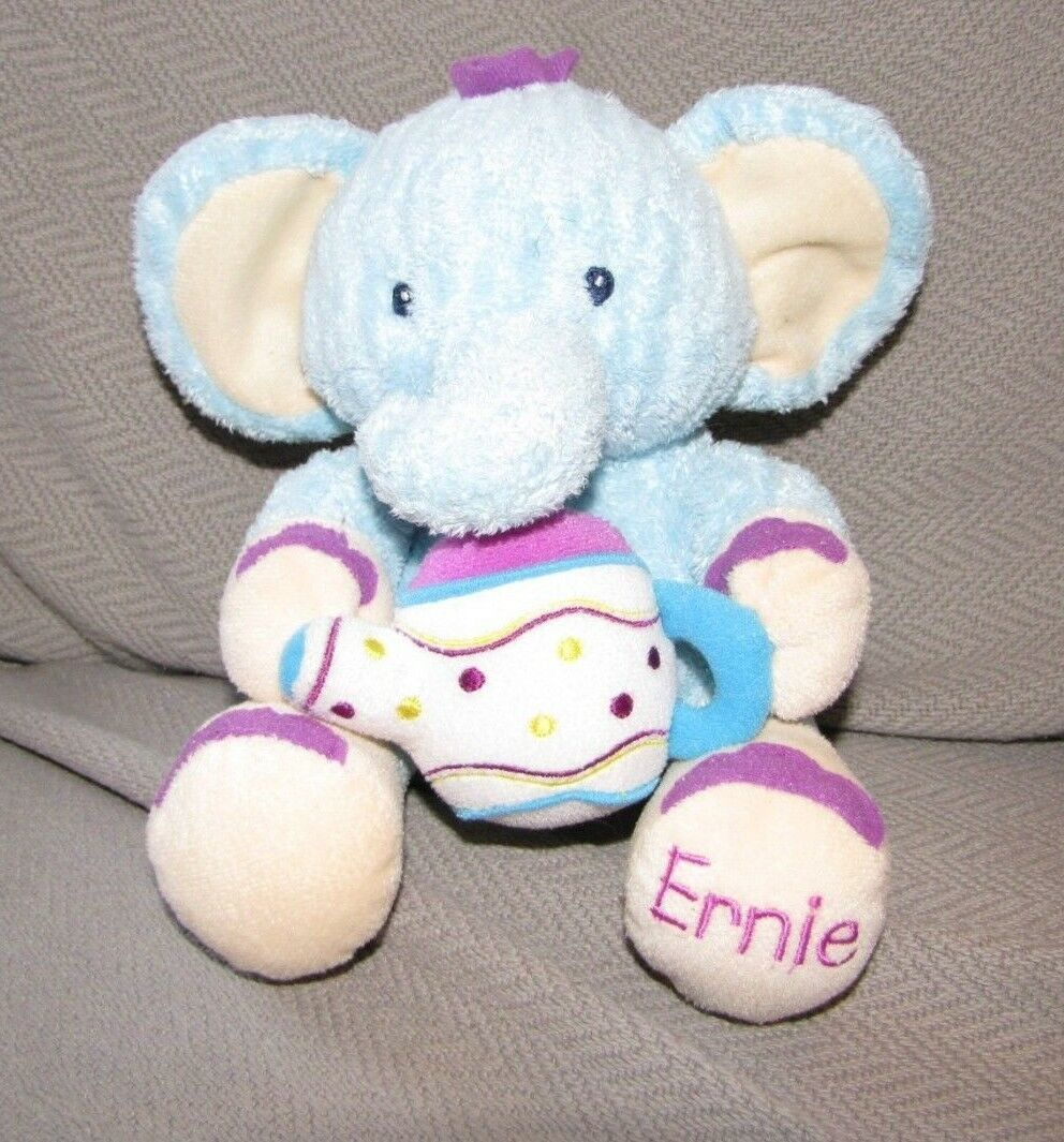 Primary image for KIDS II BRIGHT STARTS ERNIE ELEPHANT STUFFED PLUSH BLUE PURPLE TEA POT TOY