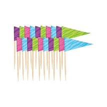 "Colorful Flags Wooden Pick Party Snack Dessert and Appetizer Décor, 2"", ... - $2.82"