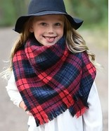 Girls Red & Navy Plaid Blanket Scarf Accessory MSRP $30.00 YOU SAVE $11.01 - $18.99