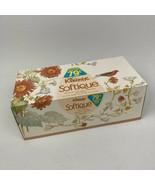 VTG 80s NOS Kleenex Peach Scented Facial Tissue Softique Floral Bird Box 79 Cent - $28.70