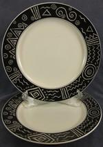 Mikasa Star Track CP006 Dinner Plates Lot of 2 Black Band White Geometrics - $62.95
