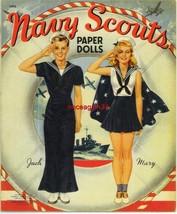 VINTAGE UNCUT 1942 NAVY SCOUTS PAPER DOLLS~#1 REPRODUCTION~NOSTALGIC & F... - $18.99
