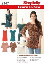 Simplicity Learn to Sew Pattern 2147 Misses Mini-Dress, Tunic, Belt Size... - $13.48