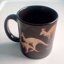 Kentucky Down Under Black With Gold Tone Kangaroos Coffee Cup New - $6.80