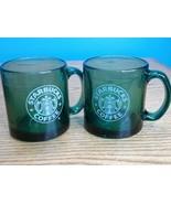 Pair of Translucent Green Starbucks Mermaid Coffee Mugs Glass Cups Made ... - $24.70