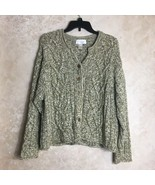 J. Jill Size XL Chunky Cardigan Sweater Thick Cableknit Green White - $39.20