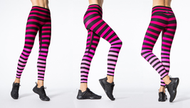K-Deer Women's Pink/Black Ombre Laura Stripe Sneaker Length Leggings, XS-4X
