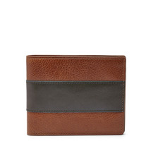 NEW FOSSIL MEN'S LEATHER CHARLES BIFOLD CREDIT CARD WALLET COGNAC - $35.59