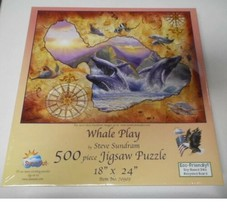 SunsOut Puzzle Whale Play Steve Sundram 500 Piece New & Sealed  - $10.40