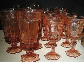 15 pc Fostoria Virginia Peach Iced Tea Glasses Wine Glasses Excellent LOOK - $74.99