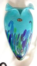 Glass Eye Studio Island Aqua Tuxedo Wall Pocket Vase New Item VW603 - $88.00