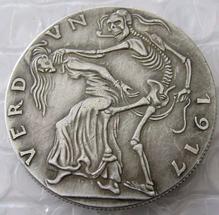 GERMANY, VERDUN 1917 ,100% Silver Plated, CAST MEDAL BY KARL GOETZ - $11.99