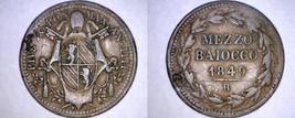 1849-IIIIR Italian States Papal States 1/2 Baiocco World Coin - Pius IX - $24.99