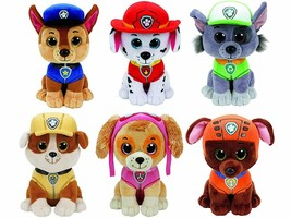 Ty Paw Patrol Beanie Babies - Set of 6! Marshall, Chase, Skye, Rocky, Rubble... - $53.87
