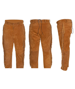 Men's New Native American Tan Buckskin Goat Suede Leather Fringes Pants WP1 - $70.39+