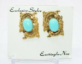 Pcraft Blue Faux Turquoise Acrylic Cabochon Gold Tone Embossed Clip Earrings - $24.74
