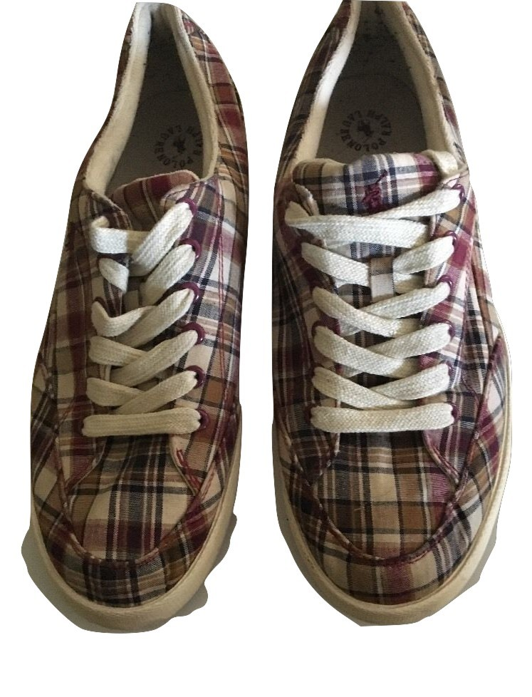Polo Ralph Lauren Mens Plaid Maroon Blue Khaki Canvas Sneaker Size 12D