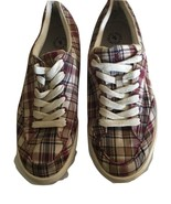 Polo Ralph Lauren Mens Plaid Maroon Blue Khaki Canvas Sneaker Size 12D - $14.84