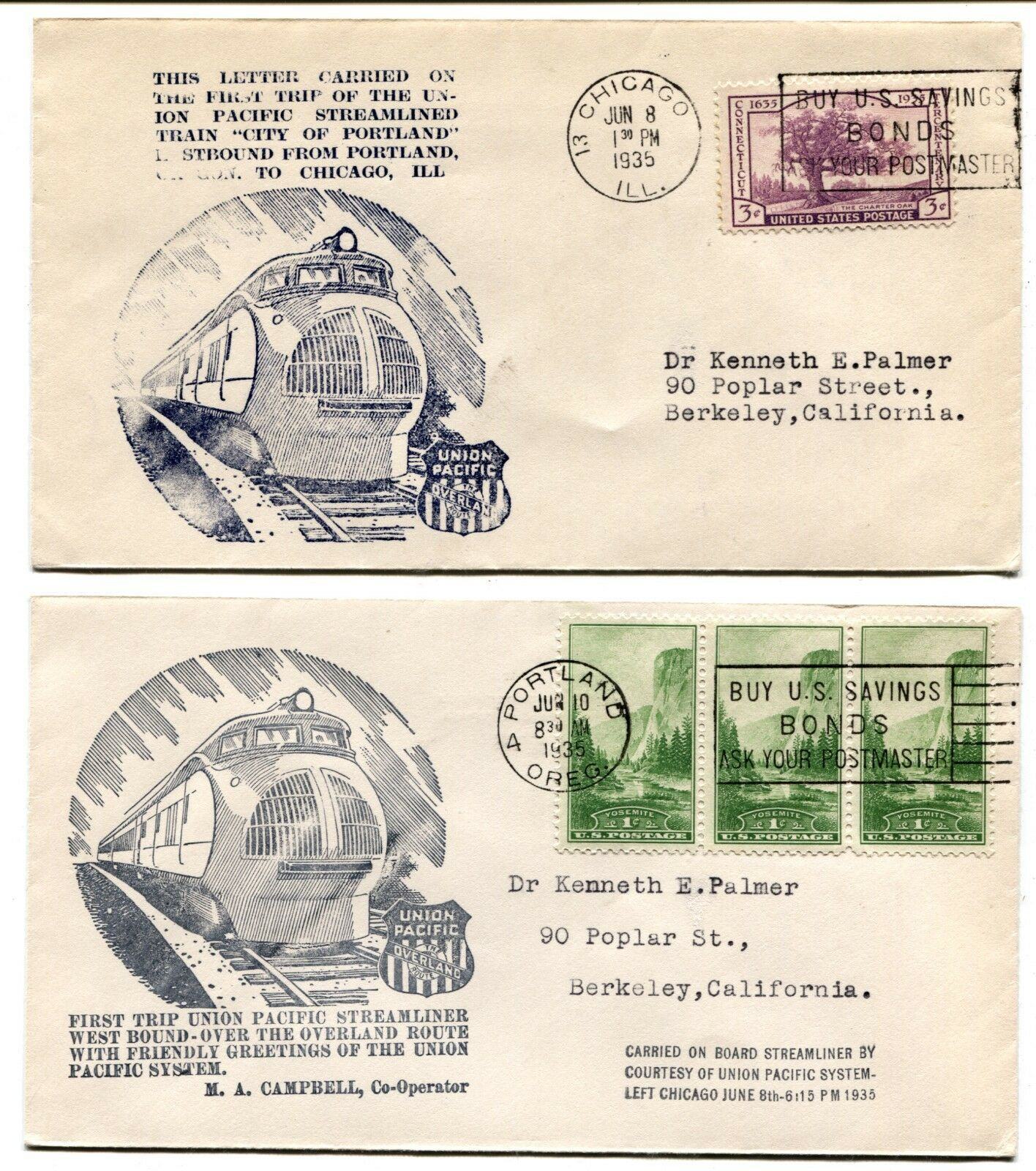 UNION PACIFIC First Day Cancellation Railroad Train Trip Covers Postage 1935 USA