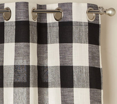 "Courtyard Plaid Woven Curtain Panel with Grommets, Black, 84"" length, Lo... - $24.99"