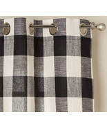 """Courtyard Plaid Woven Curtain Panel with Grommets, Black, 84"""" length, Lo... - $24.99"""