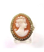 14k Yellow Gold Vintage Women's Ring With Cameo Shell Stone - $257.13