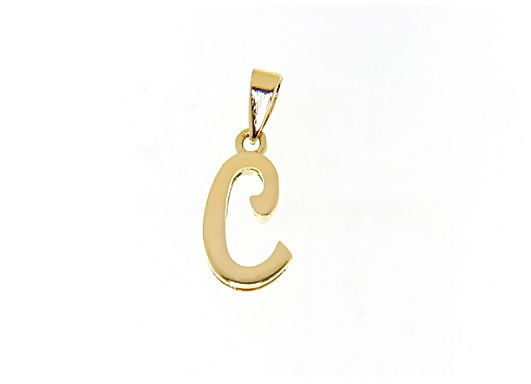 18K YELLOW GOLD LUSTER PENDANT WITH INITIAL C LETTER C MADE IN ITALY 0.71 INCHES
