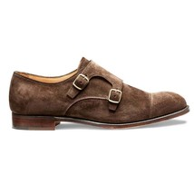 Handmade Men's Chocolate Brown Suede Double Monk Strap Shoes image 1