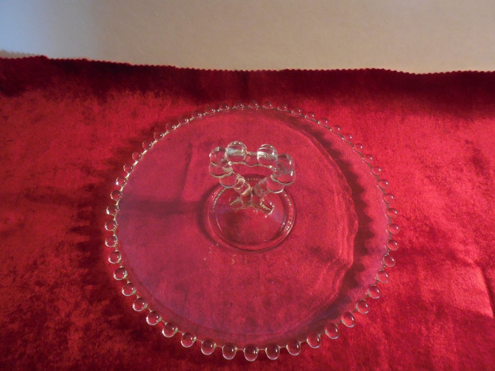 "Elegant Imperial Glass Co Candlewick 8 1/2""  Tidbit Tray w/Heart Center Handle"