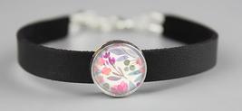 Pastel Watercolor Flowers Adjustable Leather Bracelet - $14.95