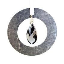 Medium Aluminum and Crystal Circle Ornament  Chrome Top image 1